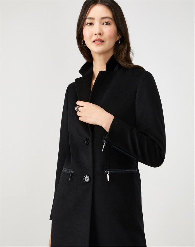 Single Breasted Zip Detail Coat