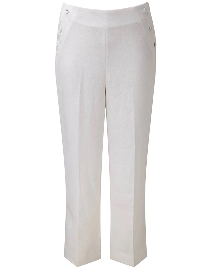 Laundered Linen Cropped Trousers
