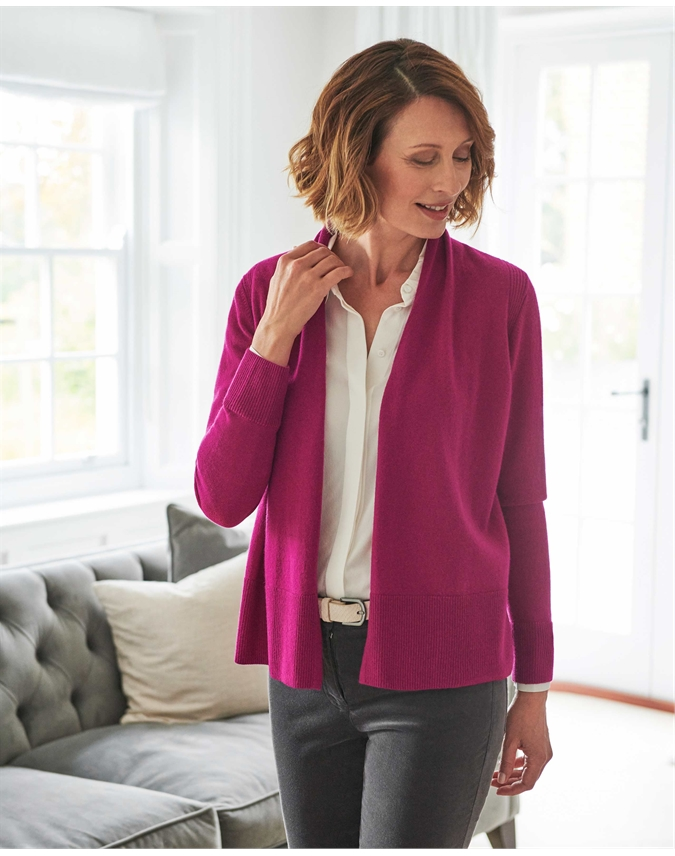 Wool Cashmere Open Cardigan