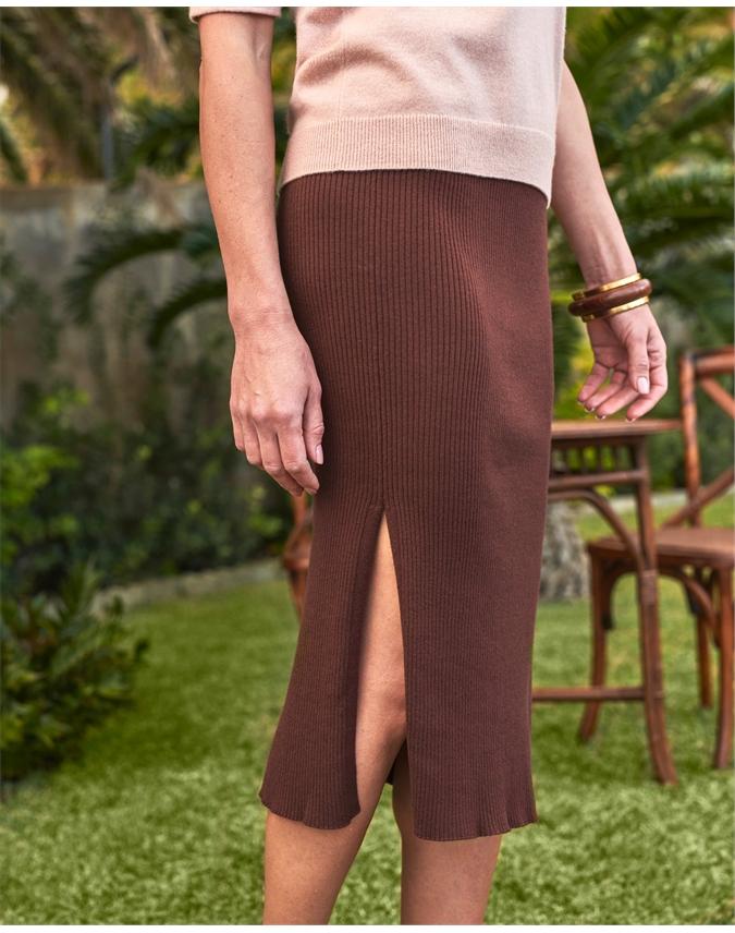 Straight Ribbed Side Split Skirt