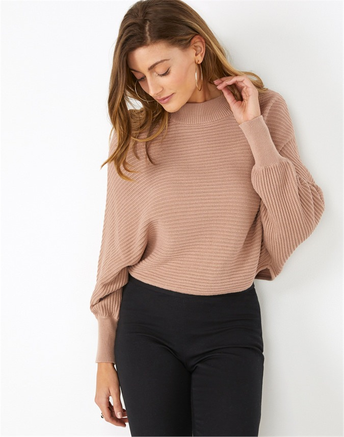 Textured Batwing Crop Sweater