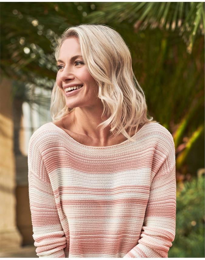Textured Stripe Boat Neck Sweater