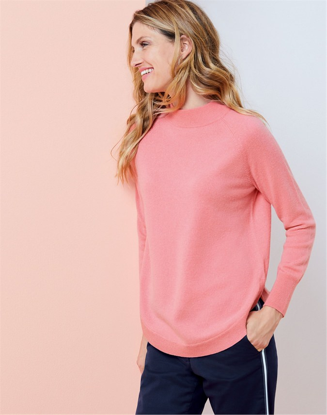 Turtle Neck Curved Hem Sweater