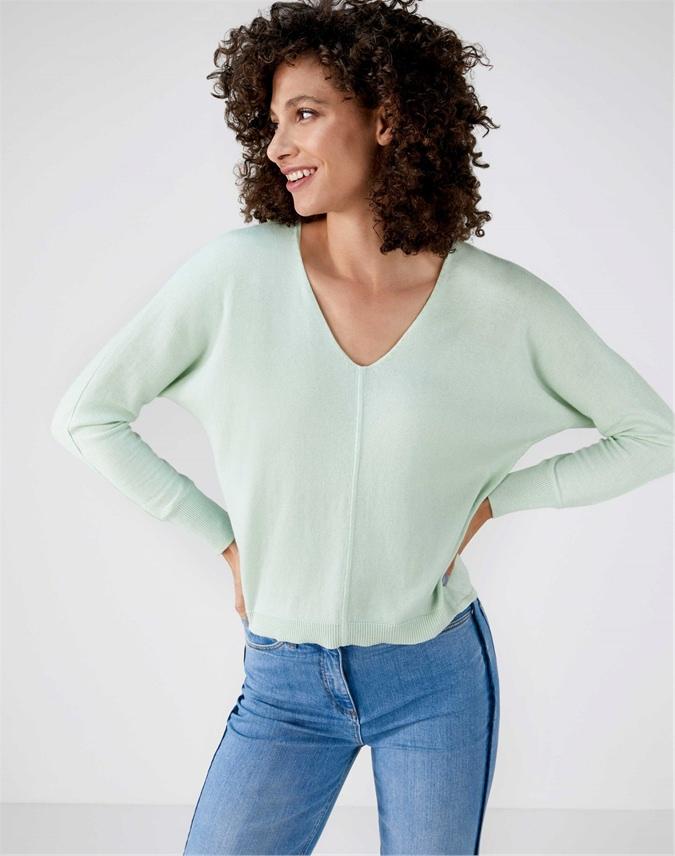 V Neck Dolman Sleeve Sweater