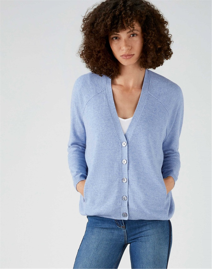 V Neck Raglan Curved Hem Cardigan