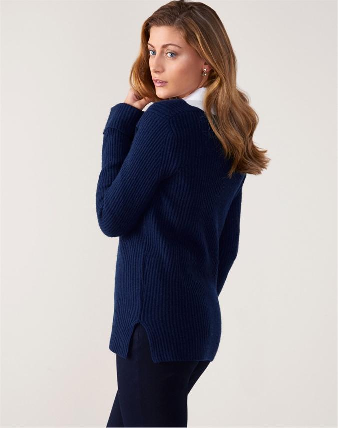 V Neck Ribbed Tunic Sweater