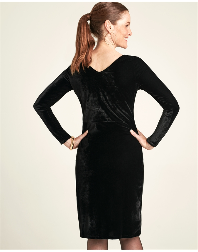 Velour V Back Dress