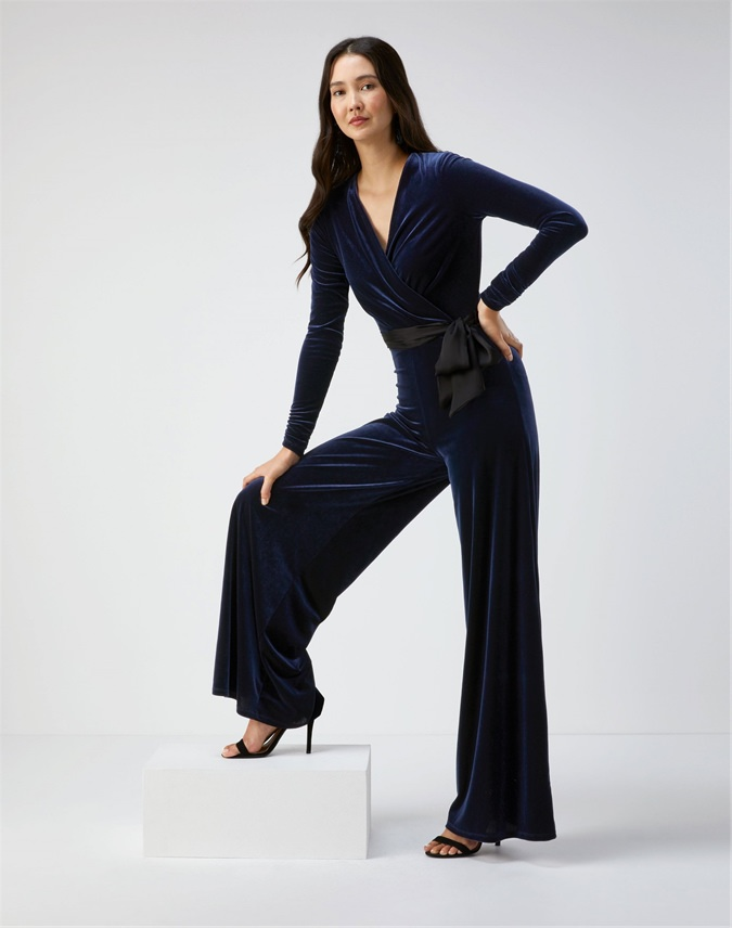 Velour Wide Leg Jumpsuit