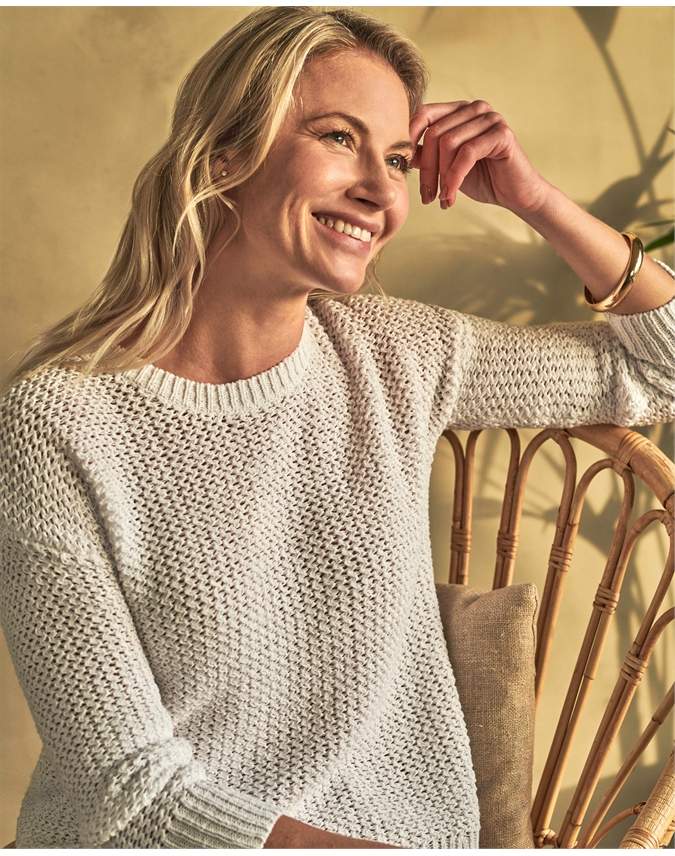 Tape Yarn Textured Sweater