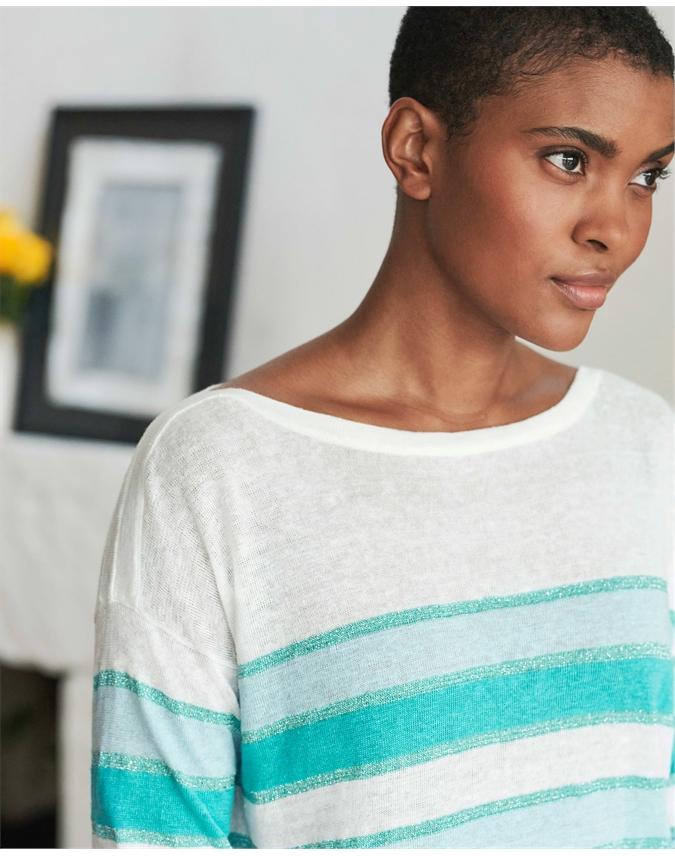 Linen Lurex Stripe Sweater