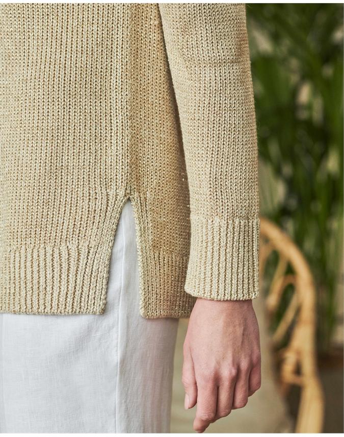 Wide V Neck Metallic Sweater