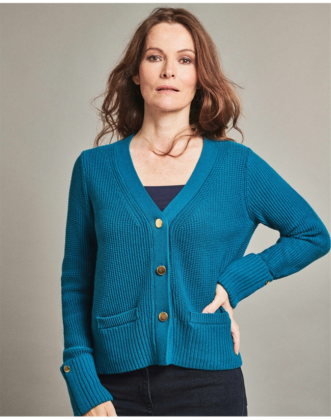 Wool Cotton Gold Button Cardigan