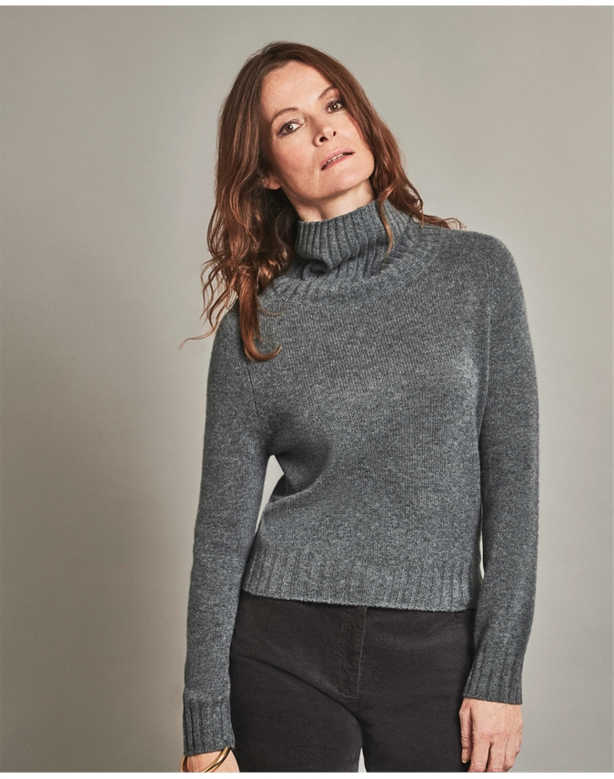 Organic Cashmere Lofty Polo Sweater