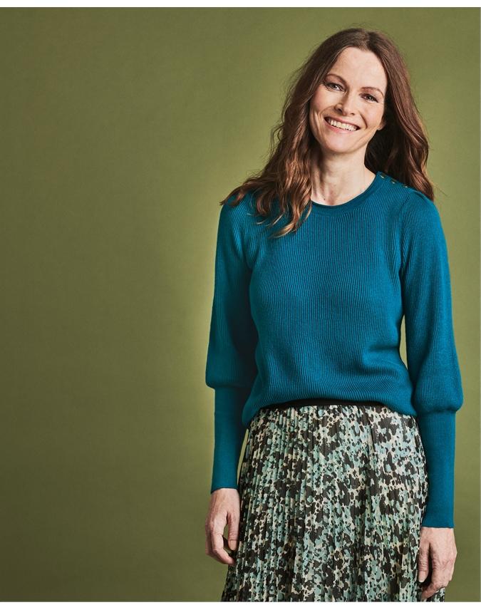 Wool Cotton Gold Button Detail Sweater