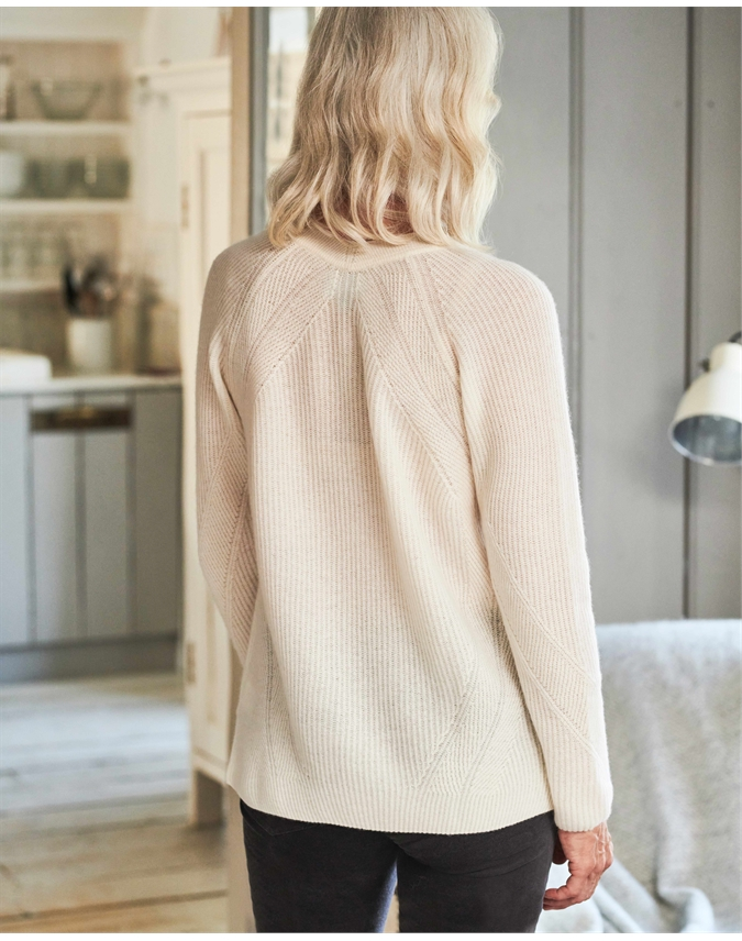 Organic Ribbed V Neck Sweater