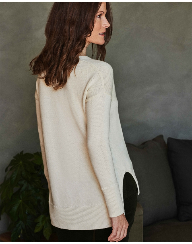 Wool Cotton V Neck Tunic