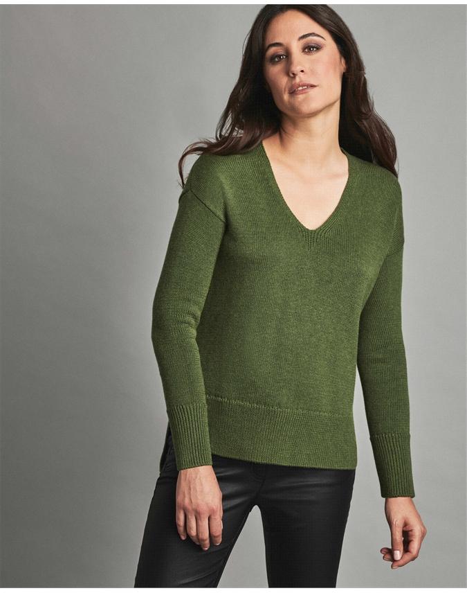 Wool Cotton V Neck Tunic