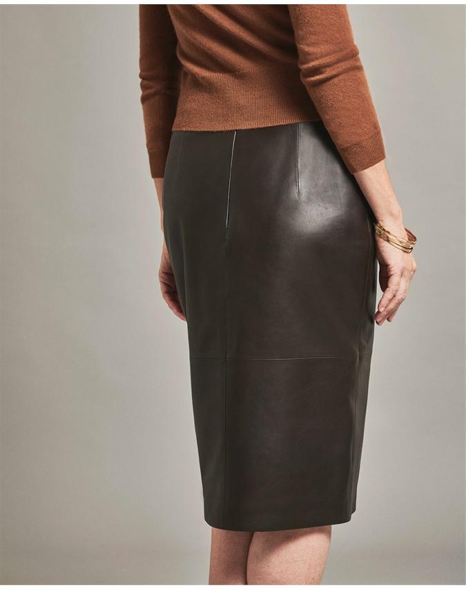Leather Split Front Pencil Skirt