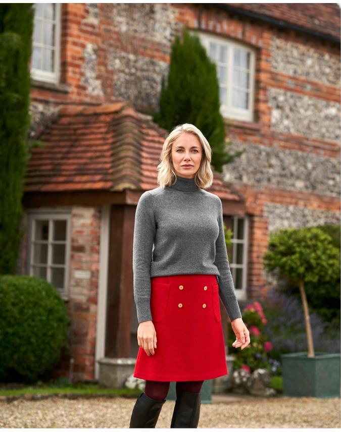 Wool Blend Double Button Mini Skirt