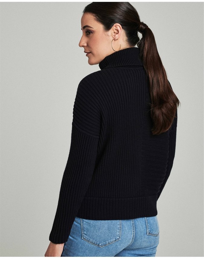 Ribbed Relaxed Turtle Neck Sweater