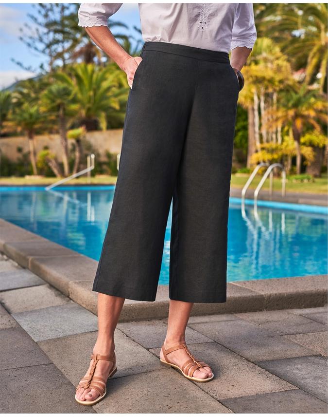 Linen Wide Leg Crop Trouser