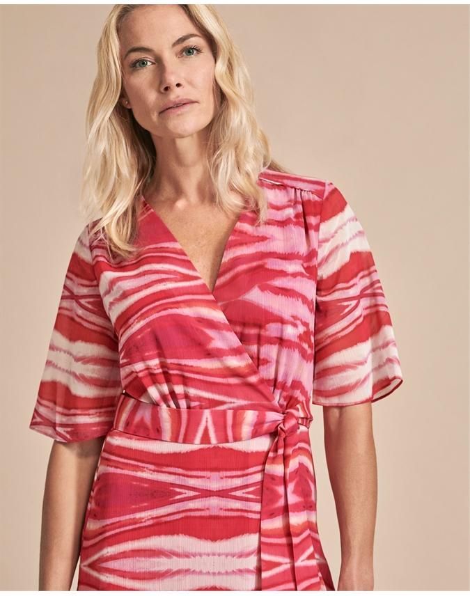 Printed Wrap Midi Dress