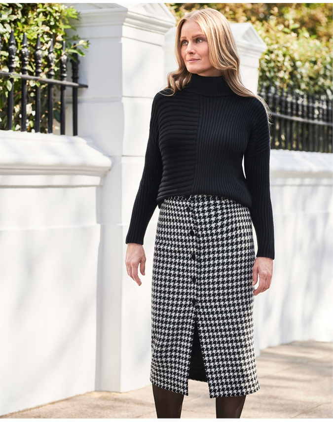 Womens Wool Blend Button Through Midi Skirt