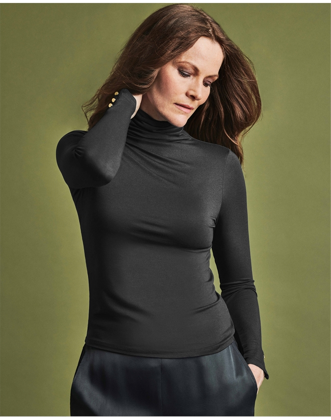 Jersey Roll Neck Top With Button Cuff
