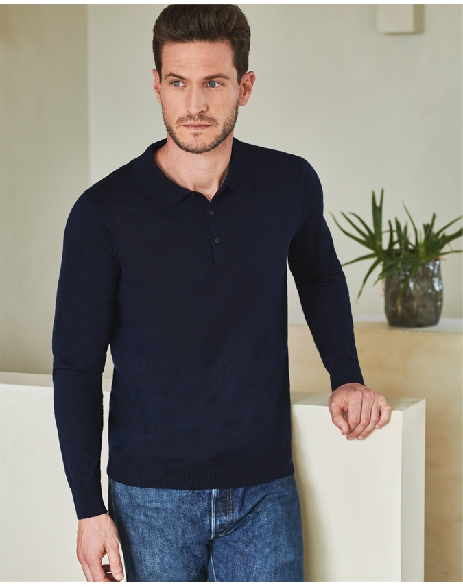 Merino Long Sleeve Polo Shirt