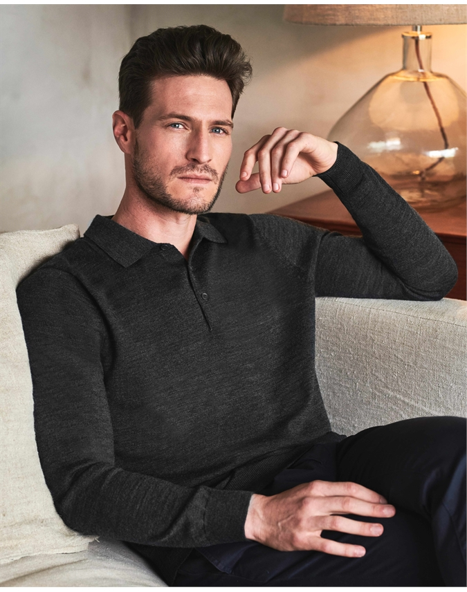 Merino Long Sleeve Polo Shirt