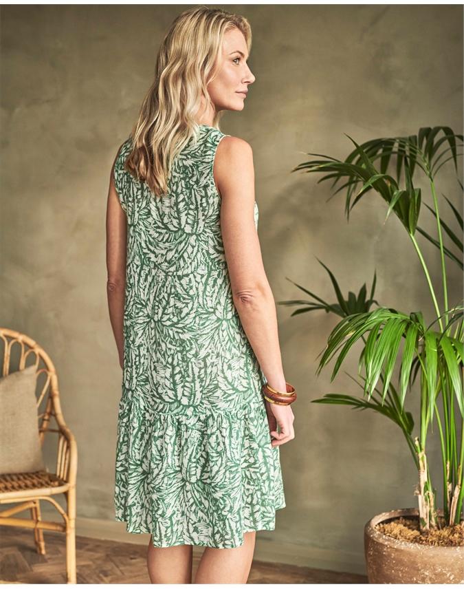 Linen Sleeveless Tiered Dress