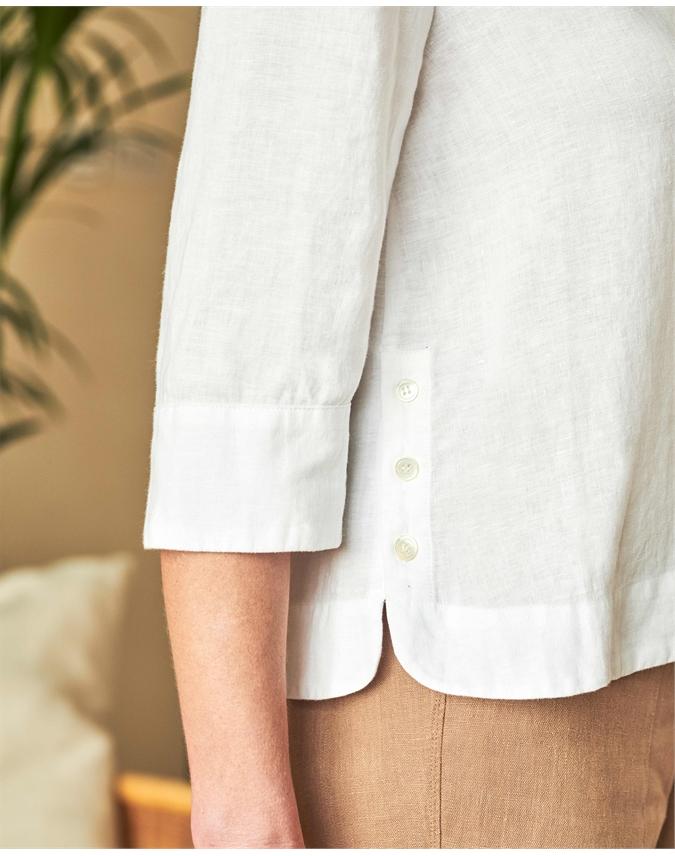 Linen Button Detail Blouse