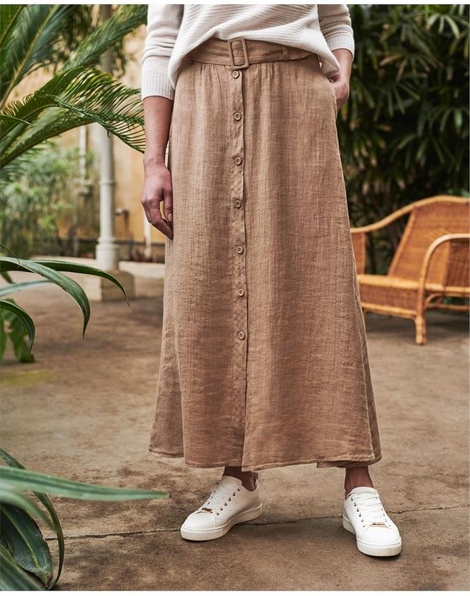 Lightweight Linen Button Skirt