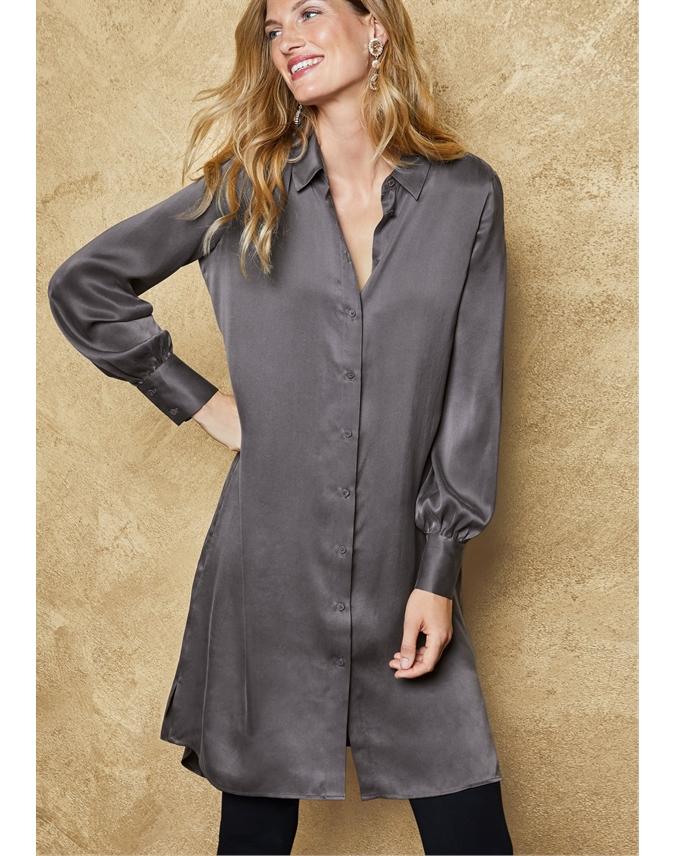 Silk Satin Shirt Dress