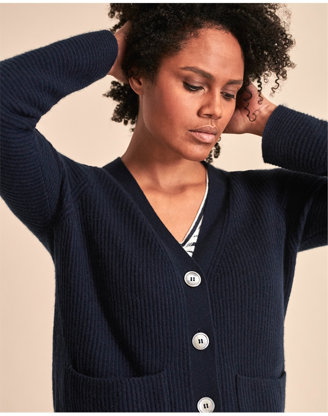 Organic Cashmere Ribbed Cardigan