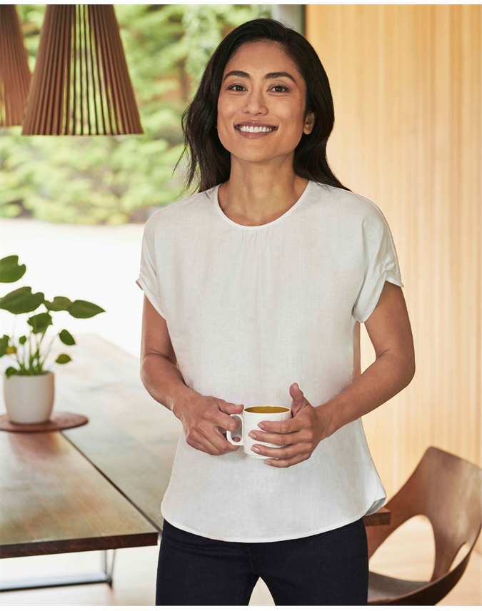 Laundered Linen Gathered Sleeve Top