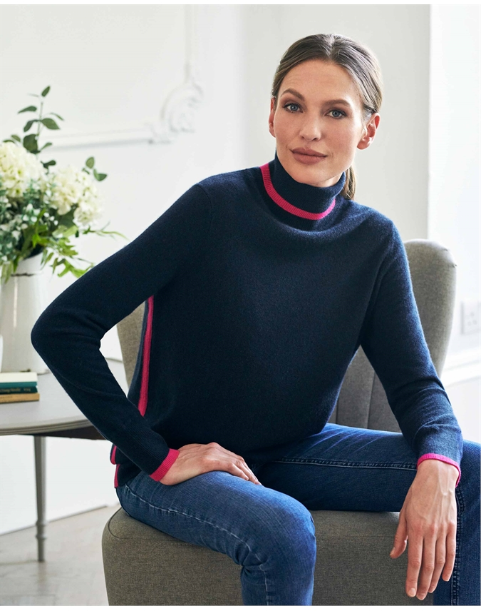 Cashmere Patterned Boyfriend Polo Neck Sweater