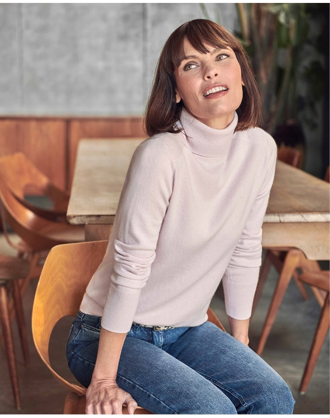 Womens Cashmere Polo Neck Sweater