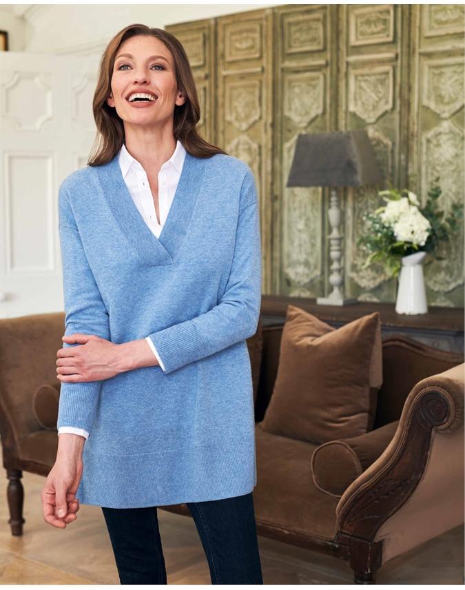 Wool Cashmere V Neck Longline Sweater