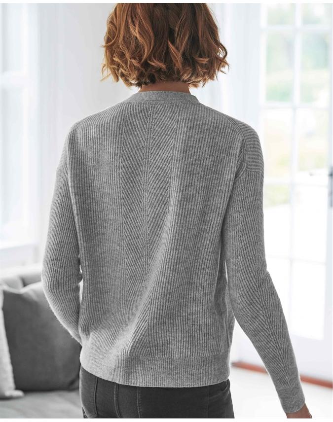 Wool Cashmere Ribbed V Neck Cardigan
