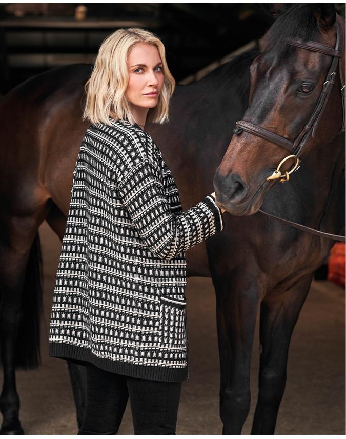 Wool Cotton Jacquard Cardigan