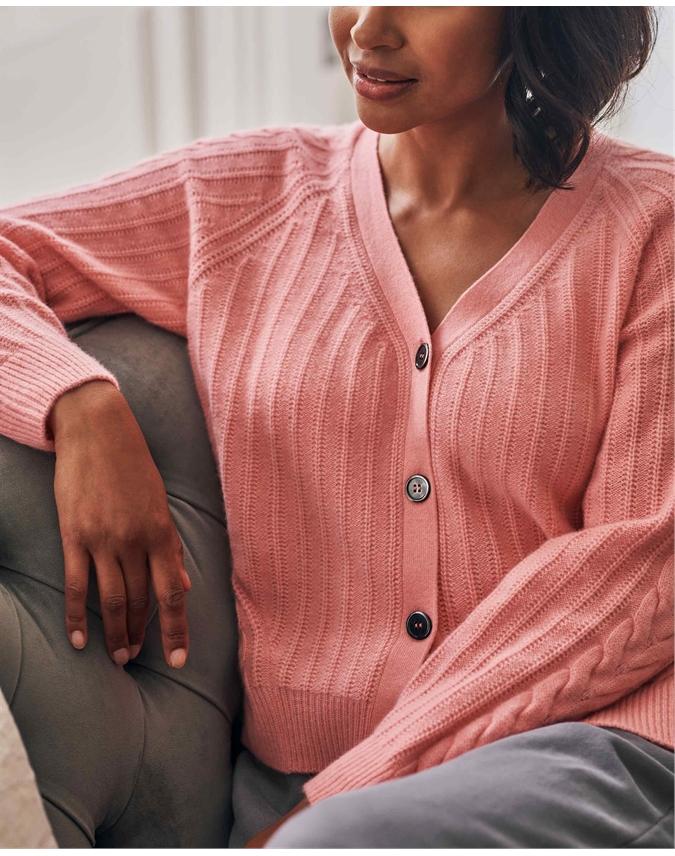 Organic Cashmere Textured Cardigan