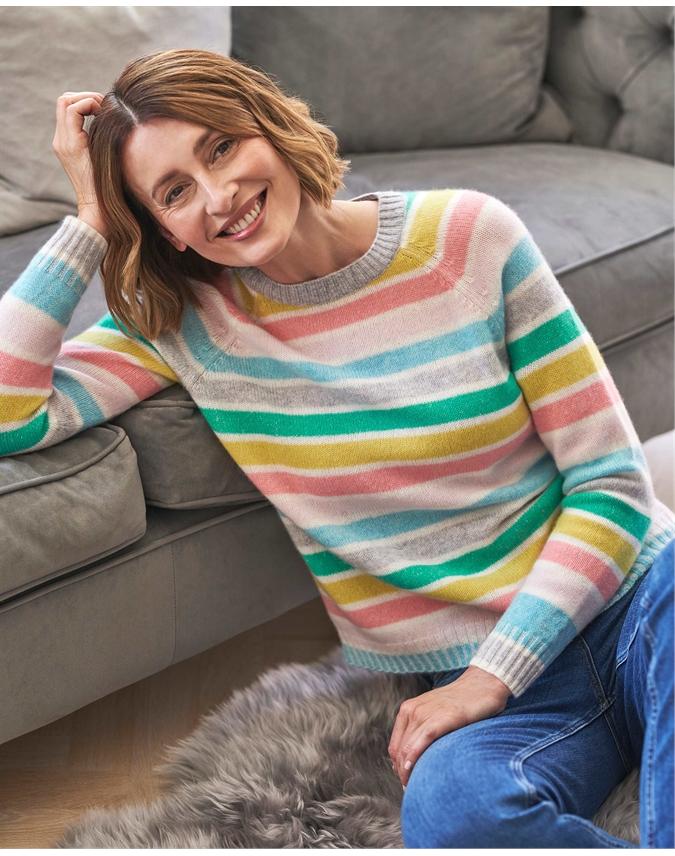 Cashmere Lofty Deco Stripe Sweatshirt