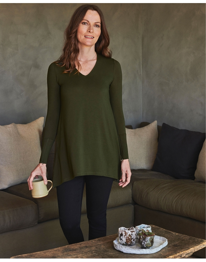 Jersey V Neck Tunic With Zip Cuffs