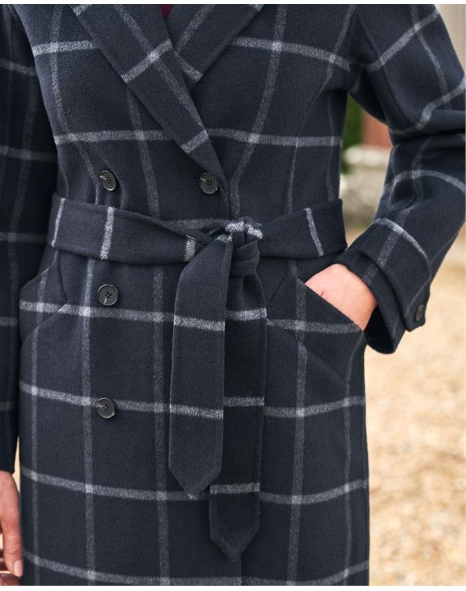 Double Faced Check Midi Coat