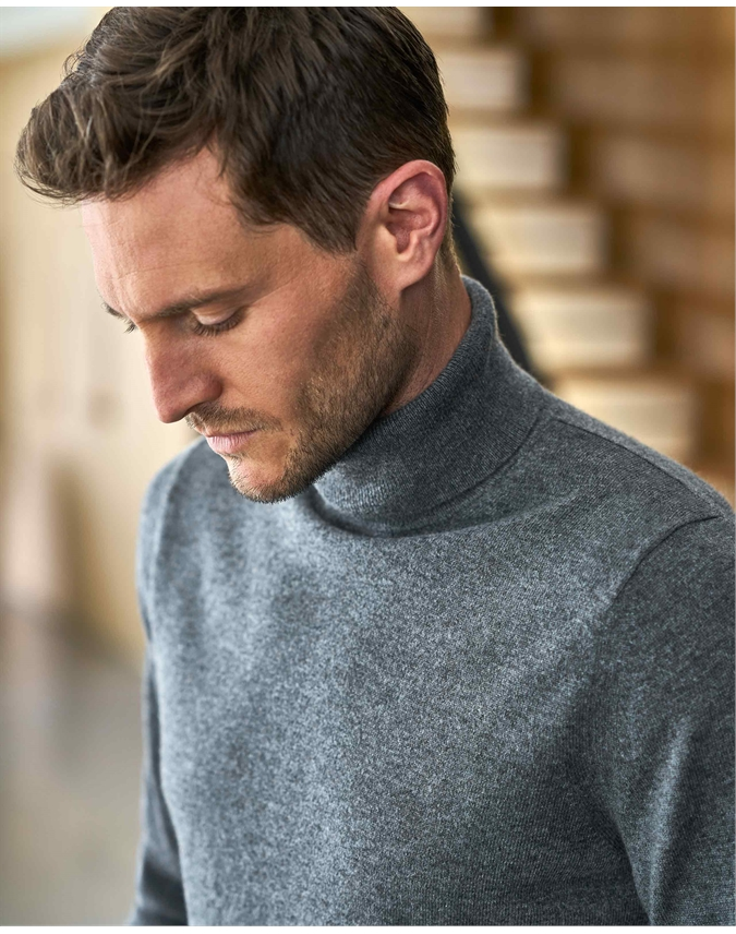 Mens Cashmere Roll Neck Sweater