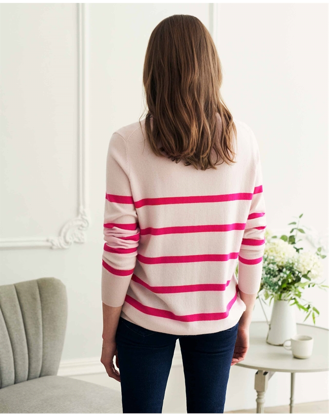 Cashmere Pink Breton Boyfriend Sweater