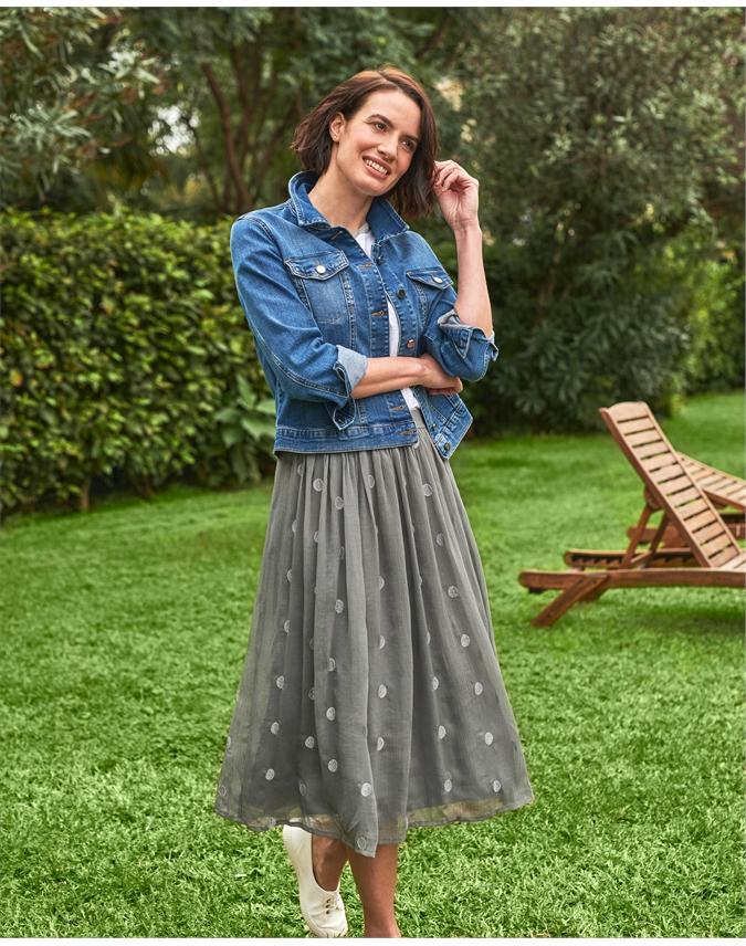 Metallic Spot Midi Skirt