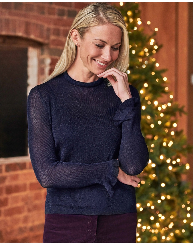 Womens Ruffle Neck Sweater