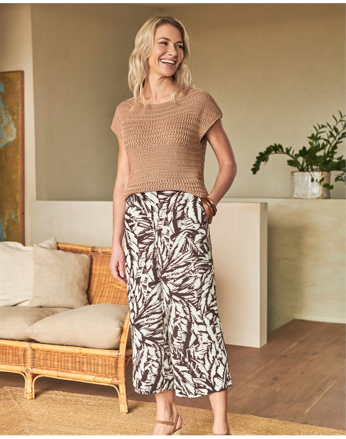 Printed Cropped Palazzo Trouser